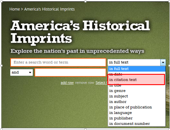 America's Historical Imprints search boxes with the