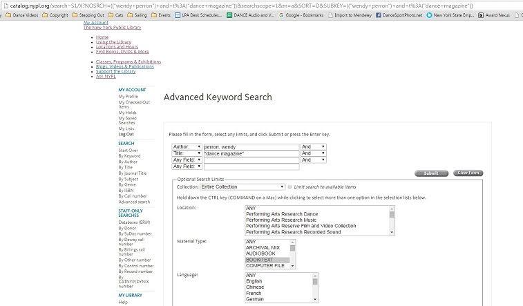 Screenshot of NYPL catalog