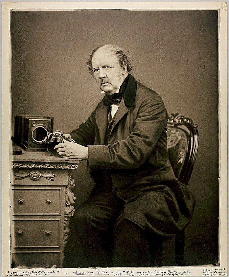 Photography by John Moffat of William Henry Fox Talbot, seated, with a camera