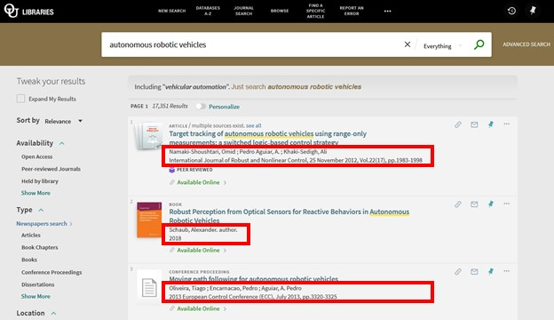 Screenshot of Library OneSearch results with author and publication information highlighted.