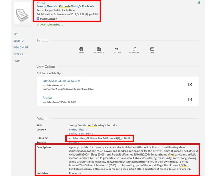Screenshot of Library OneSearch results with title, authors, publication name, abstract, and publisher highlighted.