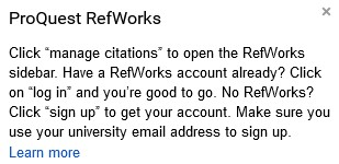Screenshot of message displayed following RefWorks add-on authorization in Google Docs.