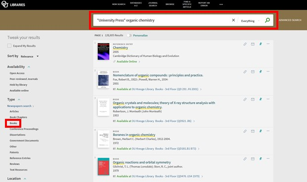 Screenshot of Library OneSearch results with Books filter highlighted.