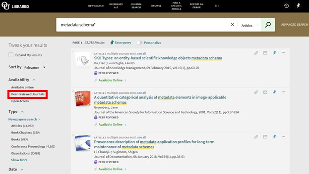 Screenshot of Library OneSearch results with Peer-reviewed Journals filter highlighted.