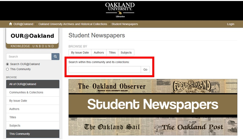 Screenshot of OUR@Oakland Student Newspapers Page with search box highlighted.
