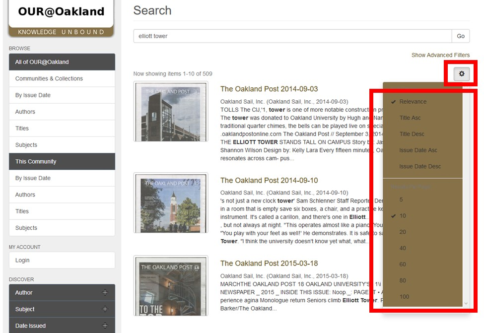 Screenshot of OUR@Oakland Student Newspapers Page with settings button and search results sorting options menu highlighted.