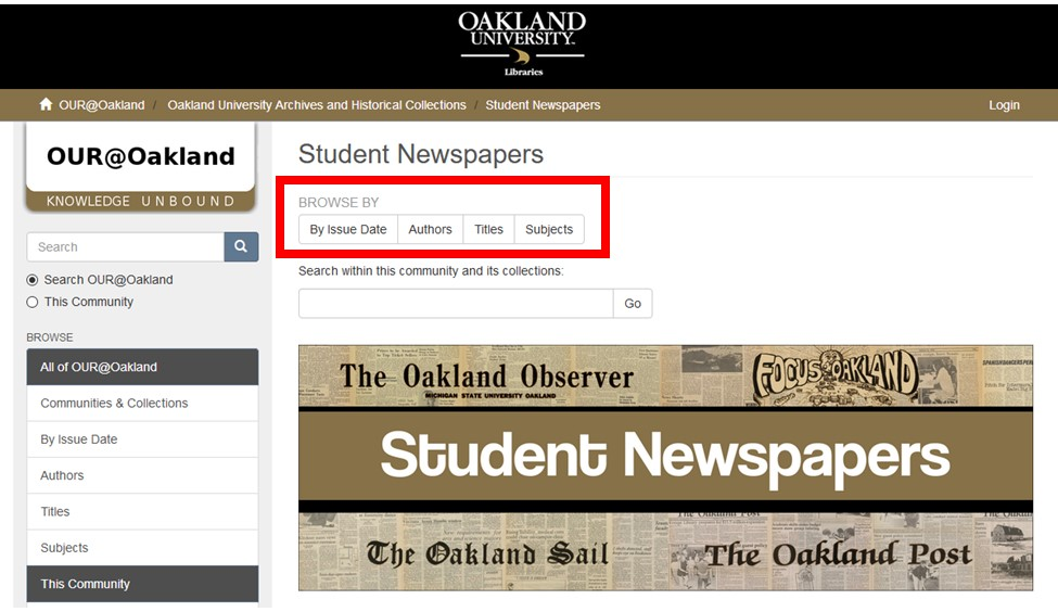 Screenshot of OUR@Oakland Student Newspapers Page with browsing buttons highlighted.