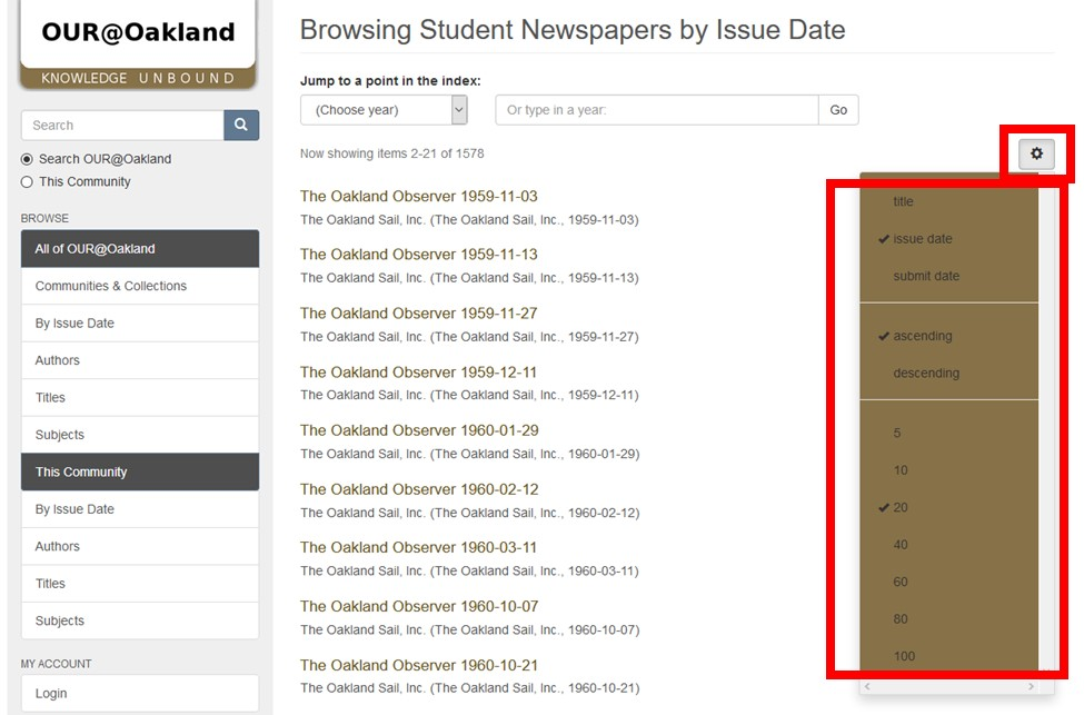 Screenshot of OUR@Oakland Student Newspapers Page with settings button and browse sorting options menu highlighted.