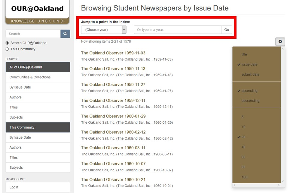 Screenshot of OUR@Oakland Student Newspapers Page with dropdown menu and search bar to indicate desired year highlighted.