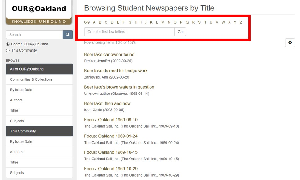 Screenshot of OUR@Oakland Student Newspapers Page with dropdown menu and search bar to indicate desired letter highlighted.