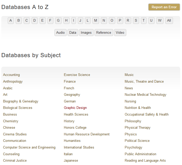 Visit our Databases A-Z