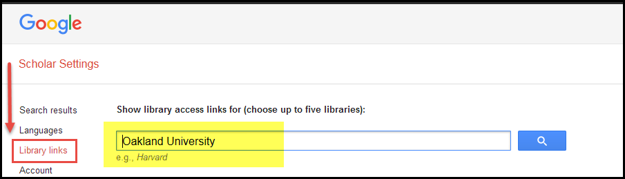 Screenshot highlighting the Library links option in the menu on the left and Oakland University entered in the search box.