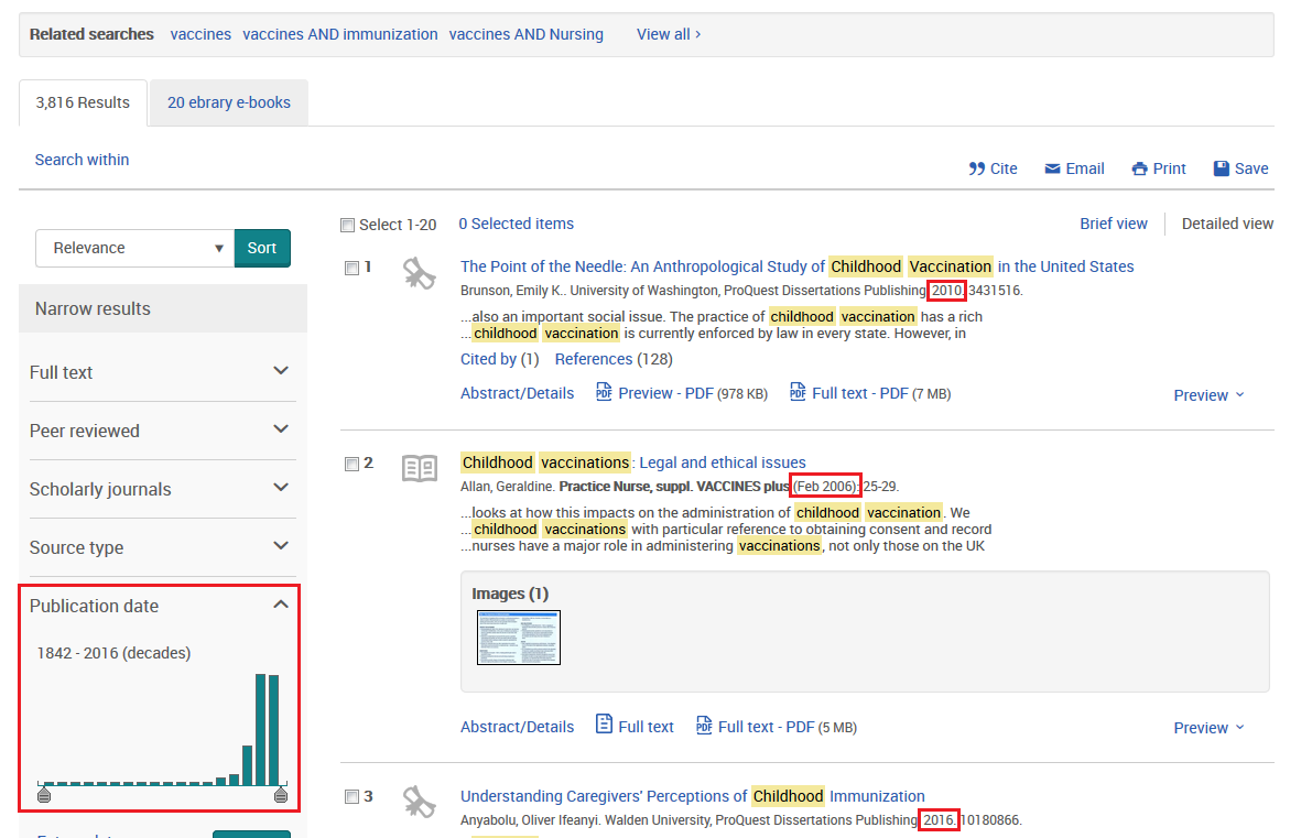 Database search results with publication dates and publication date filter highlighted