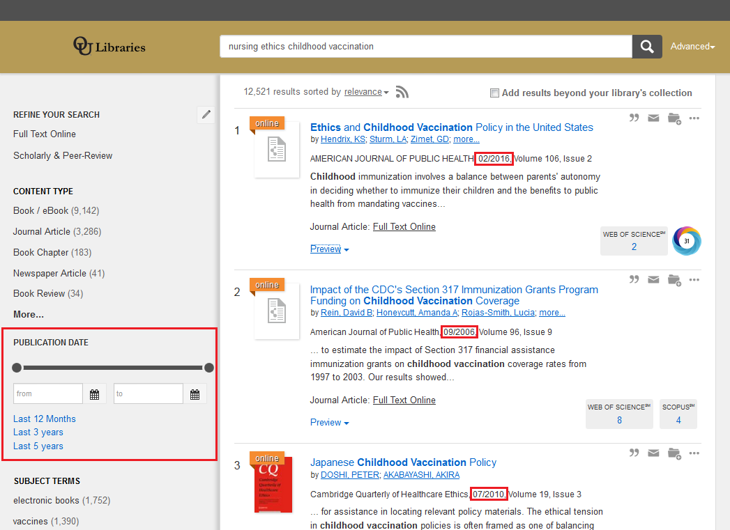 Library OneSearch results with publication dates and publication date filter highlighted