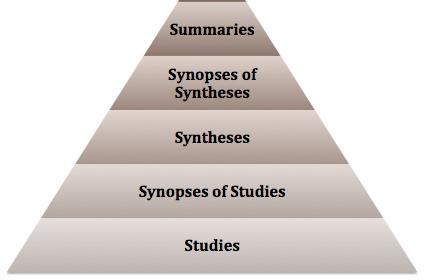 Incomplete 6S pyramid displaying five of the six tiers with Summaries at the top