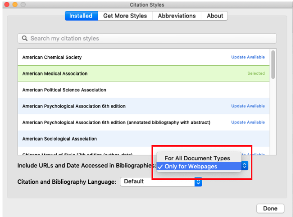 Screenshot of how to remove URLs from every citation